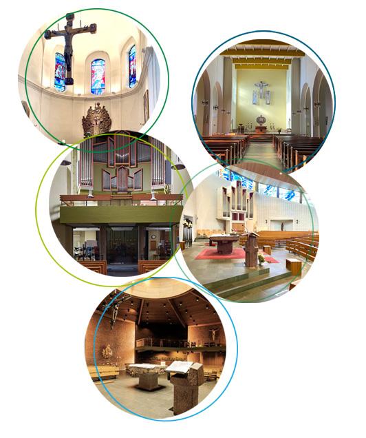 Grafik aus verschiedenen runden Bildern aller 5 Kirchengemeinden im Pastoralem Raum Süd.